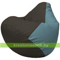 Бескаркасное кресло-мешок Груша Г2.3-1636 чёрный, голубой