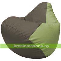 Бескаркасное кресло-мешок Груша Г2.3-1719 серый, оливковый