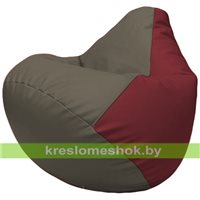 Бескаркасное кресло-мешок Груша Г2.3-1721 серый, бордовый