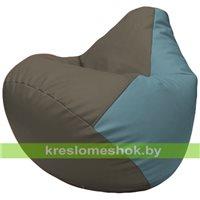 Бескаркасное кресло-мешок Груша Г2.3-1736 серый, голубой