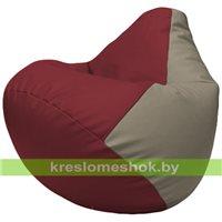 Бескаркасное кресло-мешок Груша Г2.3-2102 бордовый, светло-серый