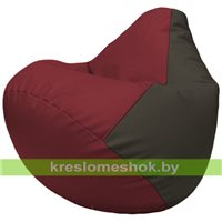 Бескаркасное кресло-мешок Груша Г2.3-2116 бордовый, чёрный
