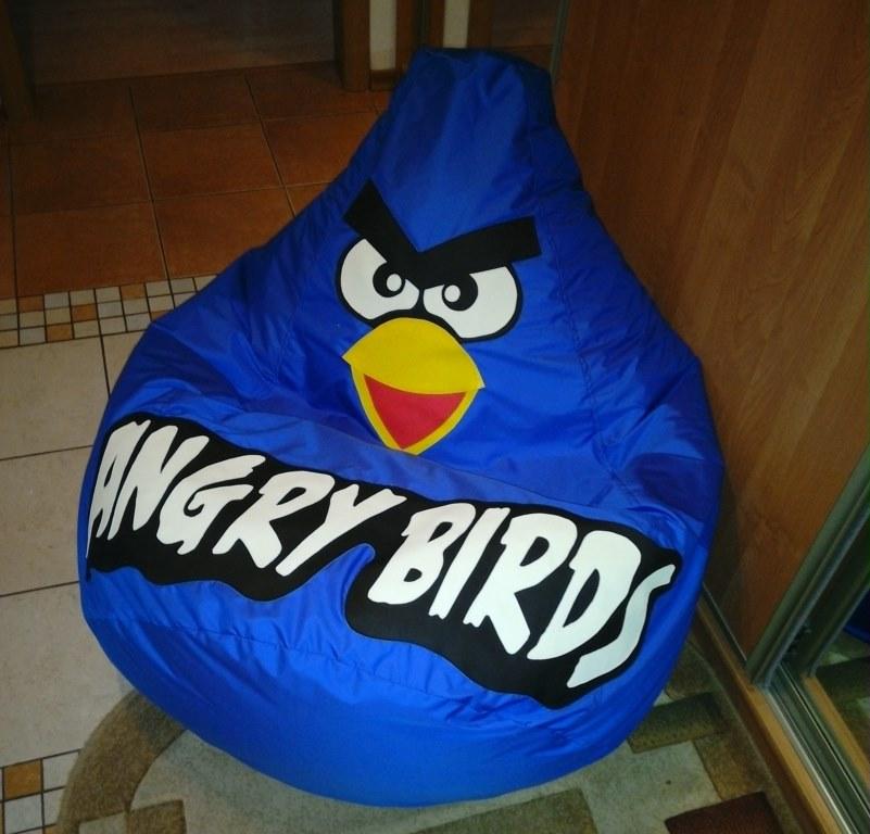 кресло груша Птичка синяя