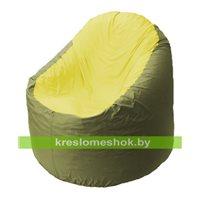 Кресло мешок Bravo оливковое, сидушка желтая