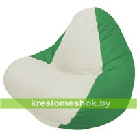 Кресло мешок RELAX зелёное, сидушка белая