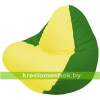 Кресло мешок RELAX зелёное, сидушка жёлтая
