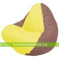 Кресло мешок RELAX коричневое, сидушка жёлтая