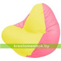 Кресло мешок RELAX розовое, сидушка жёлтая