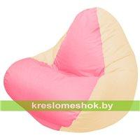 Кресло мешок RELAX светло-бежевое, сидушка розовая