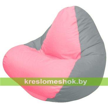 Кресло мешок RELAX серое, сидушка розовая
