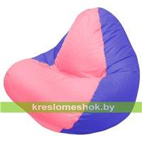 Кресло мешок RELAX тёмно-синее, сидушка розовая