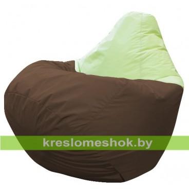 Кресло мешок Груша Бонн (основа коричневая, вставка салатовая)