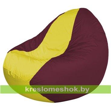 Кресло мешок Classic К2.1-44 (основа бордовая, вставка жёлтая)