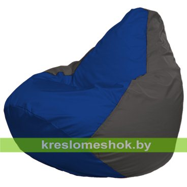 Кресло-мешок Груша Макси Г2.1-118 (основа серая тёмная, вставка синяя)