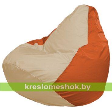 Кресло-мешок Груша Макси Г2.1-143 (основа оранжевая, вставка бежевая)