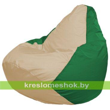 Кресло-мешок Груша Макси Г2.1-147 (основа зелёная, вставка бежевая)