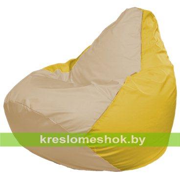 Кресло-мешок Груша Макси Г2.1-148 (основа жёлтое, вставка бежевая)