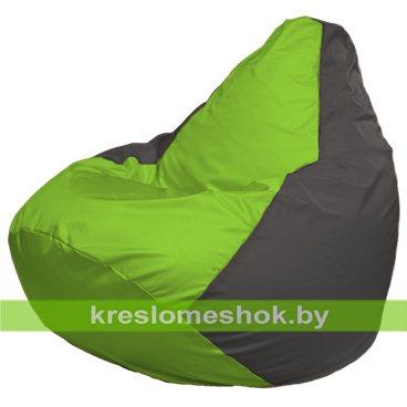 Кресло-мешок Груша Макси Г2.1-156 (основа серая тёмная, вставка салатовая)