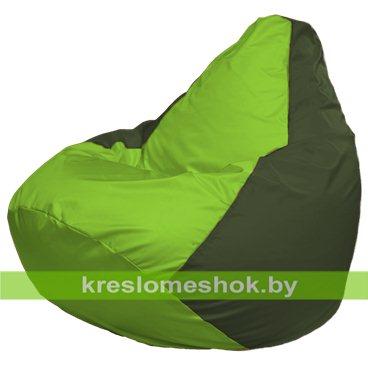 Кресло-мешок Груша Макси Г2.1-157 (основа оливковая тёмная, вставка салатовая)