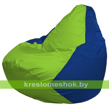 Кресло-мешок Груша Макси Г2.1-159 (основа синяя, вставка салатовая)