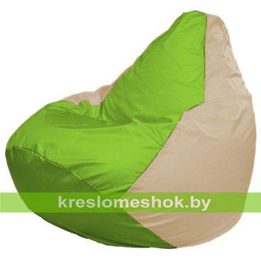 Кресло-мешок Груша Макси Г2.1-162 (основа бежевая, вставка салатовая)