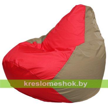 Кресло-мешок Груша Макси Г2.1-171 (основа бежевая тёмная, вставка красная)