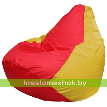Кресло-мешок Груша Макси Г2.1-178 (основа жёлтая, вставка красная)