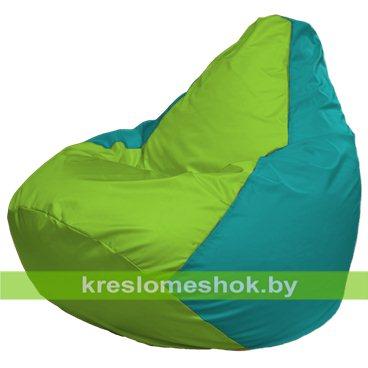 Кресло-мешок Груша Макси Г2.1-182 (основа бирюзовая, вставка салатовая)