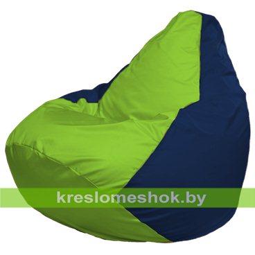 Кресло-мешок Груша Макси Г2.1-184 (основа синяя тёмная, вставка салатовая)