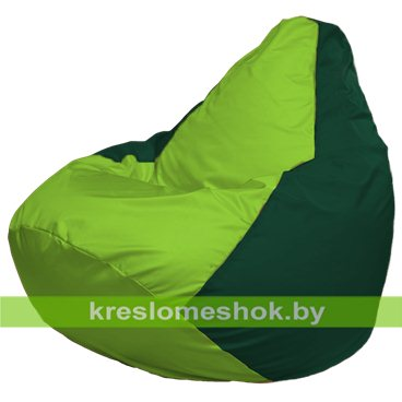 Кресло-мешок Груша Макси Г2.1-185 (основа зелёная тёмная, вставка салатовая)