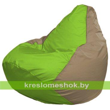 Кресло-мешок Груша Макси Г2.1-186 (основа бежевая тёмная, вставка салатовая)