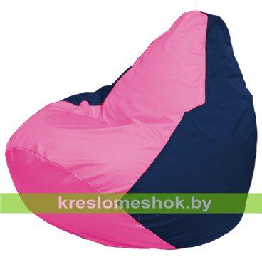 Кресло-мешок Груша Макси Г2.1-192 (основа синяя тёмная, вставка розовая)