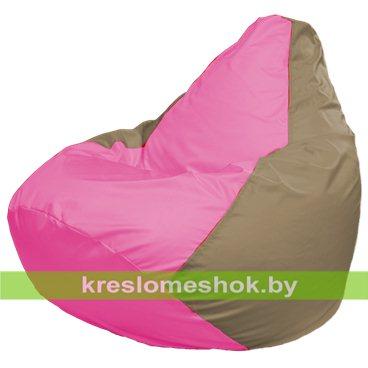 Кресло-мешок Груша Макси Г2.1-193 (основа бежевая тёмная, вставка розовая)