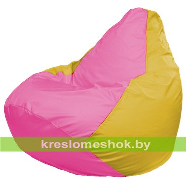 Кресло-мешок Груша Макси Г2.1-201 (основа жёлтая, вставка розовая)