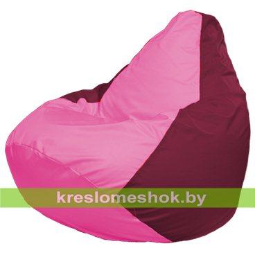 Кресло-мешок Груша Макси Г2.1-203 (основа бордовая, вставка розовая)