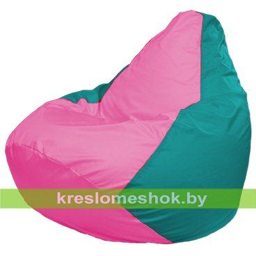 Кресло-мешок Груша Макси Г2.1-204 (основа бирюзовая, вставка розовая)