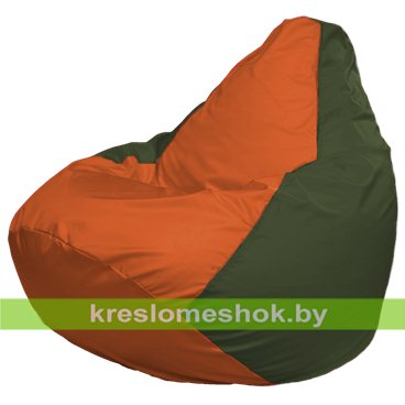 Кресло-мешок Груша Макси Г2.1-211 (основа оливковая тёмная, вставка оранжевая)