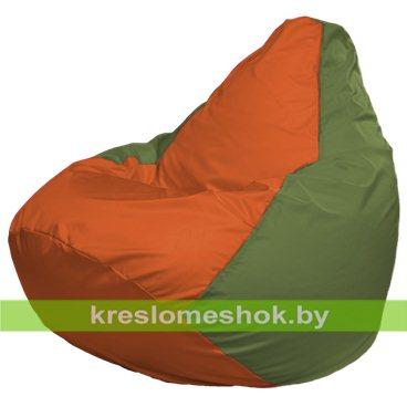 Кресло-мешок Груша Макси Г2.1-216 (основа оливковая, вставка оранжевая)
