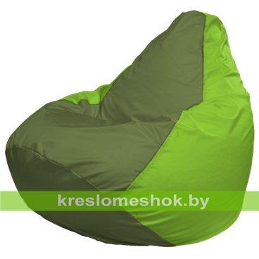 Кресло-мешок Груша Макси Г2.1-161 (основа салатовая, вставка оливковая)