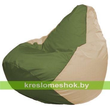 Кресло-мешок Груша Макси Г2.1-225 (основа бежевая, вставка оливковая)