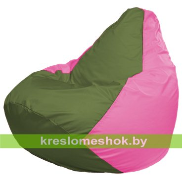 Кресло-мешок Груша Макси Г2.1-226 (основа розовая, вставка оливковая)