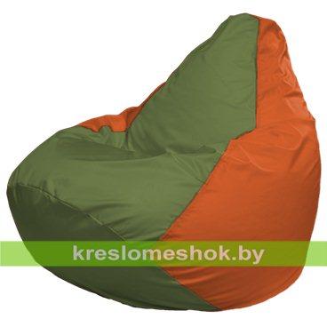 Кресло-мешок Груша Макси Г2.1-227 (основа оранжевая, вставка оливковая)