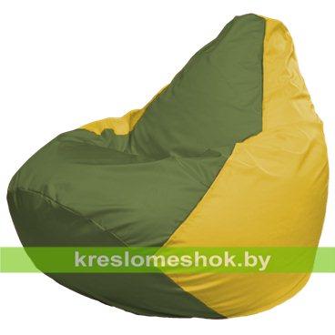 Кресло-мешок Груша Макси Г2.1-228 (основа жёлтая, вставка оливковая)