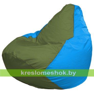 Кресло-мешок Груша Макси Г2.1-229 (основа голубая, вставка оливковая)