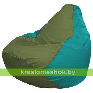 Кресло-мешок Груша Макси Г2.1-230 (основа бирюзовая, вставка оливковая)
