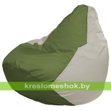 Кресло-мешок Груша Макси Г2.1-231 (основа белая, вставка оливковая)