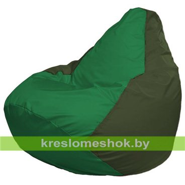 Кресло-мешок Груша Макси Г2.1-236 (основа оливковая тёмная, вставка зелёная)
