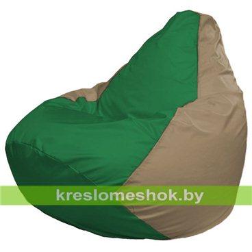Кресло-мешок Груша Макси Г2.1-237 (основа бежевая тёмная, вставка зелёная)