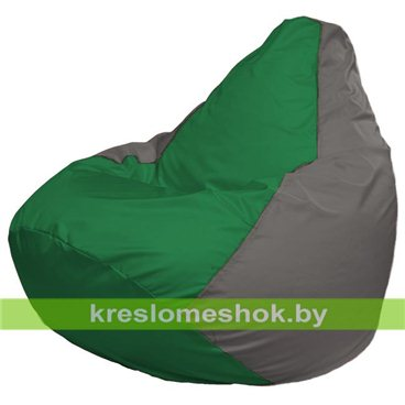 Кресло-мешок Груша Макси Г2.1-239 (основа серая, вставка зелёная)