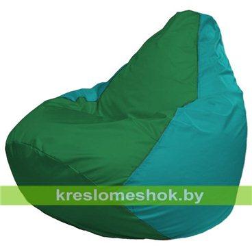 Кресло-мешок Груша Макси Г2.1-243 (основа бирюзовая, вставка зелёная)